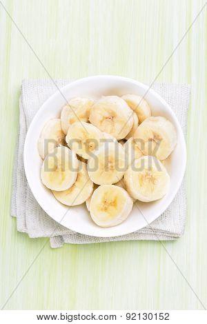 Sliced Banana In Bowl