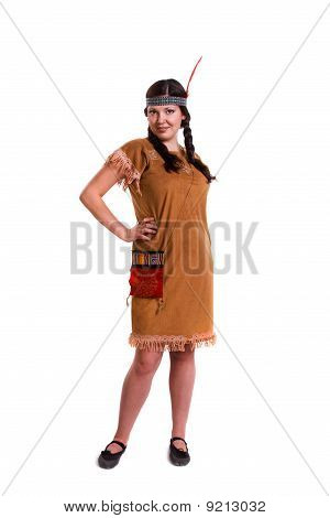 Woman in american indian costume