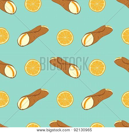 Seamless pattern with sicilian dessert cannoli