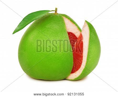One Green Pomelo With Slice And Leaf (isolated)