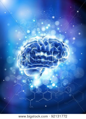 Brain & chemical formulas - blue technology concept / vector illustration / eps10