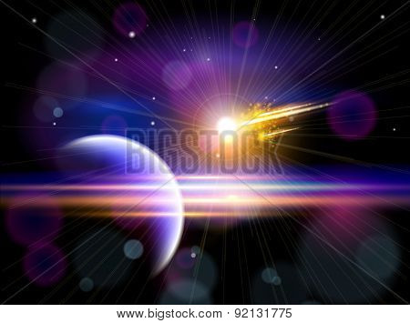 Magic Space - Large comet flying to the blue planet, planets, stars and constellations, nebulae and galaxies, lights. Vector illustration / Eps10