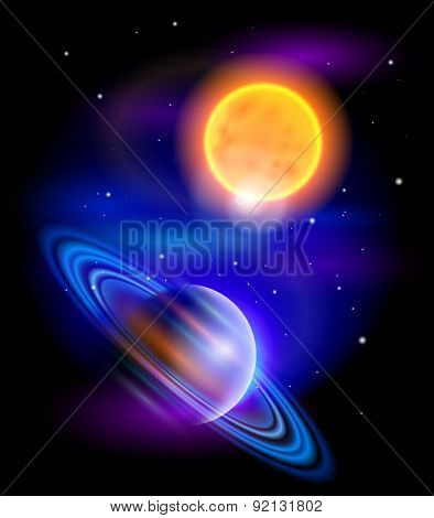 Magic Space - Sun and Saturn, planets, stars and constellations, nebulae and galaxies, lights. Vector illustration / Eps10