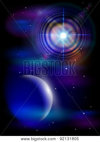 Magic Space - Big Star & Blue Planet, stars and constellations, nebulae and galaxies, lights. Vector illustration / Eps10
