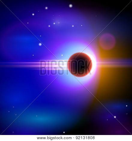 Magic Space - The black hole in the depths of the cosmos, stars and constellations, nebulae and galaxies, lights. Vector illustration / Eps10