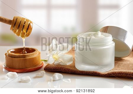 Honey Moisturizer Front View With Background Windows