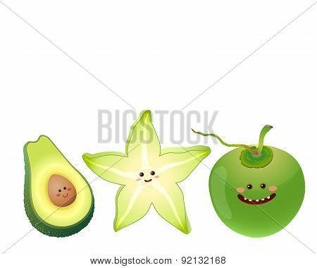 Cute Fruits#avocado, Star Fruit, Coconut