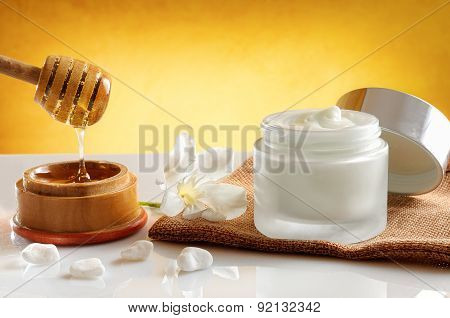 Honey Moisturizer Front View With Yellow Gradient Background