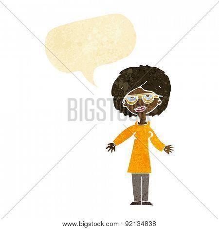 cartoon woman wearing glasses with speech bubble