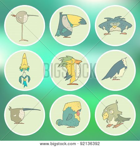 Set of hand drawn vector retro cartoon birds on flat round background.