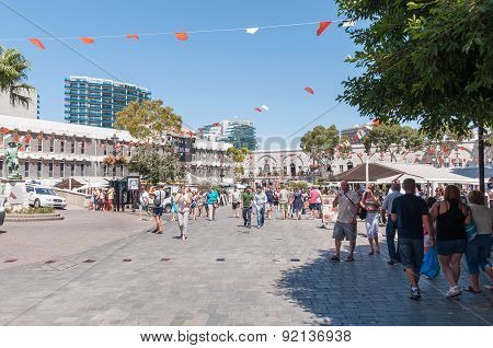 Tourists At Grand Casemates Square In Gibraltar