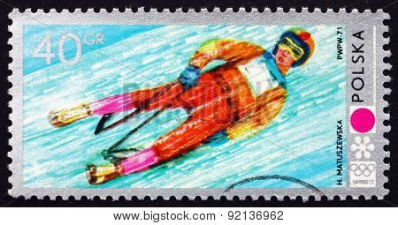 Postage Stamp Poland 1971 Luge