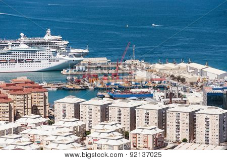 Big Passenger Ships In The Port Of Gibraltar