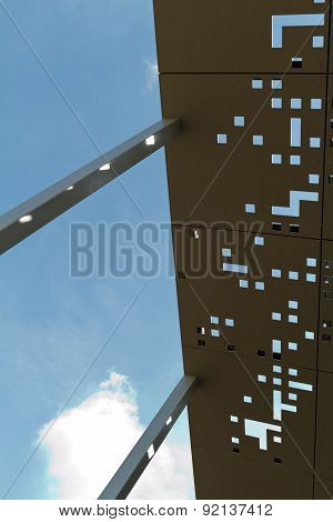 Amesbury, England - Circa May 2014: A Detailed View Of  The Perforated Metal Roof Of The Stonehenge