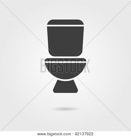 black toilet icon with shadow
