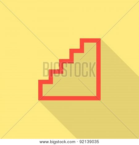 red stairway icon isolated on yellow background with long shadow