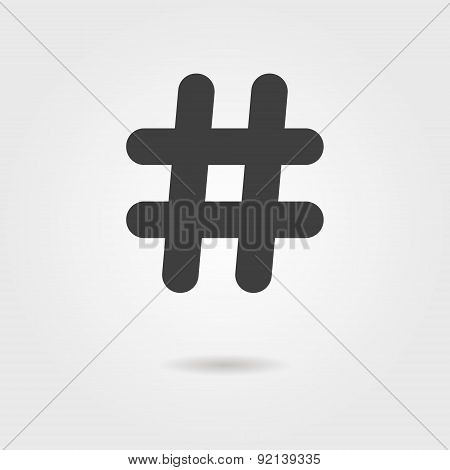 black hashtag icon with shadow