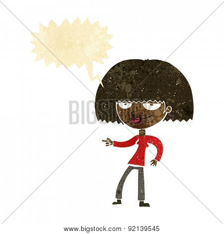 cartoon happy woman pointing with speech bubble
