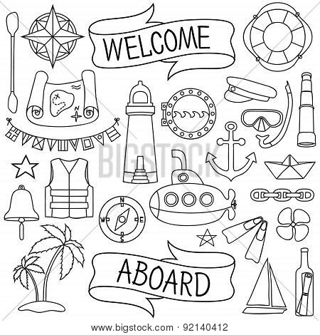 Doodle hand drawn nautical decor set.
