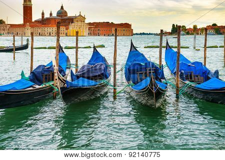 Gondolas At Sunset