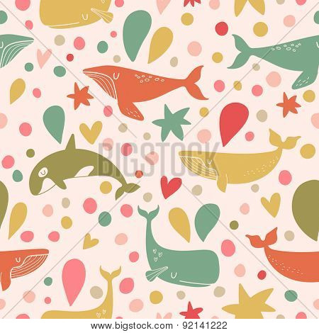 Stunning seamless pattern with cute whales in bright vintage colors. Sweet underwater concept background in vector