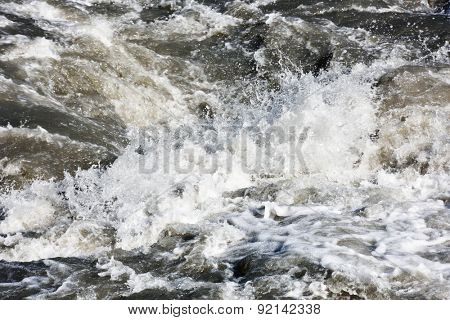 Water splashes of mountain river background