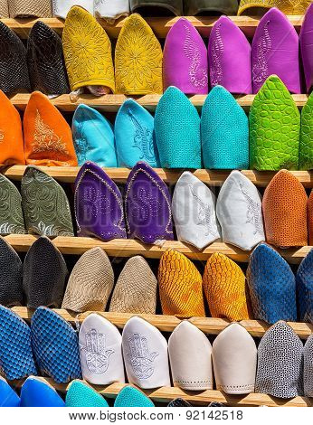 Babouches, traditional Moroccan footwear.