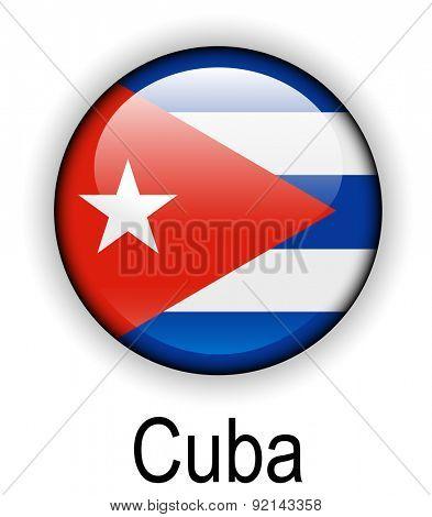 cuba official state button ball flag