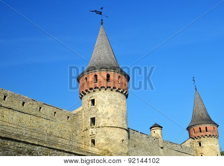 Castle Wall And Tower. Medieval Fortification