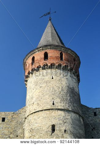 Castle Wall And Tower. Medieval Ukrainian Fortification