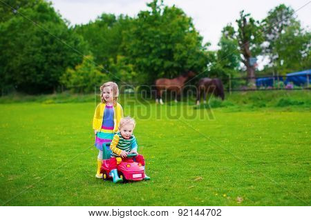Kids On A Farm With Horses