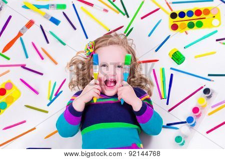 Littel Girl With School Art Supplies