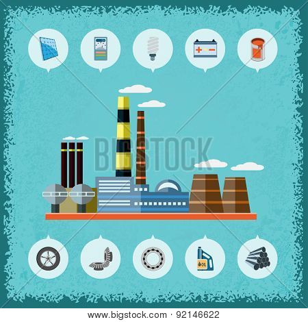 Illustration of plant with icons of industrial production.