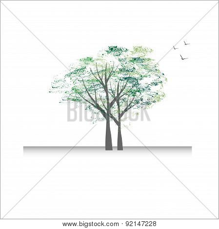 Beautiful Tree Card Or Background.