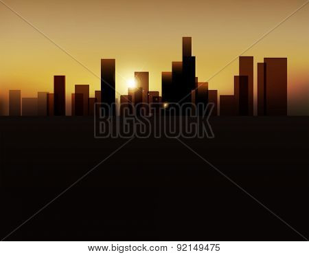 background with urban landscape (buildings and sunrise)