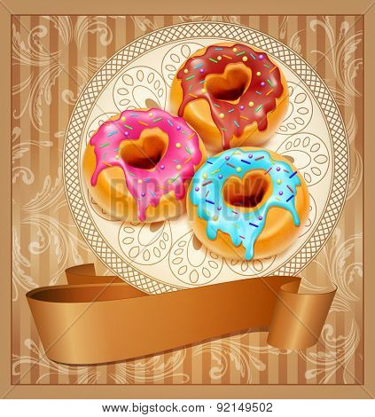 Vintage background with three donuts on a napkin and ribbon