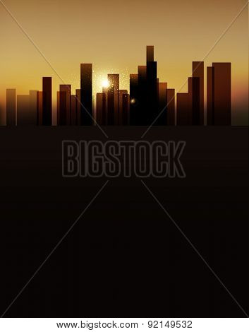 background with urban landscape (buildings and sunrise. vertical version)