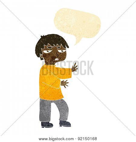cartoon man gesturing with speech bubble
