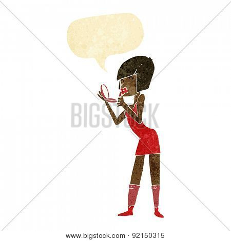 cartoon woman applying lipstick with speech bubble