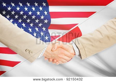 Businessmen Handshake - United States And Japan