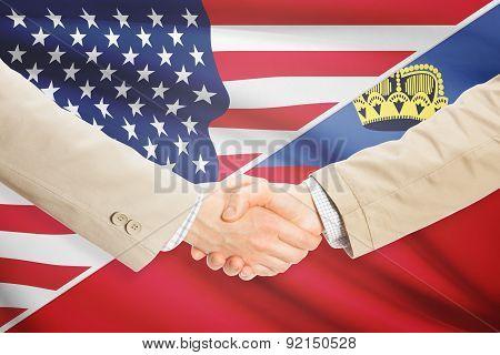 Businessmen Handshake - United States And Liechtenstein