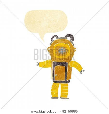 cartoon deep sea diver  with speech bubble