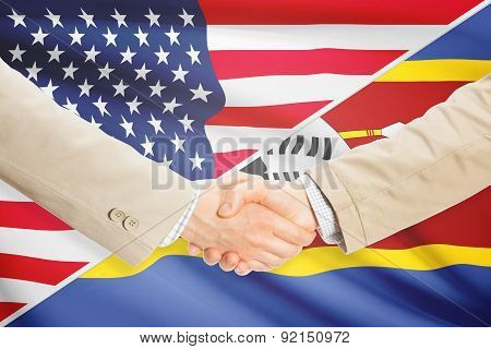 Businessmen Handshake - United States And Swaziland