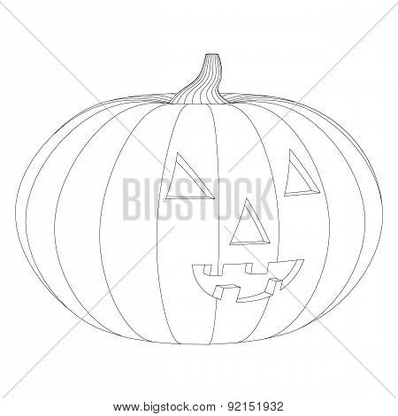 Pumpkin With Openings Contour Closeup On A White Background