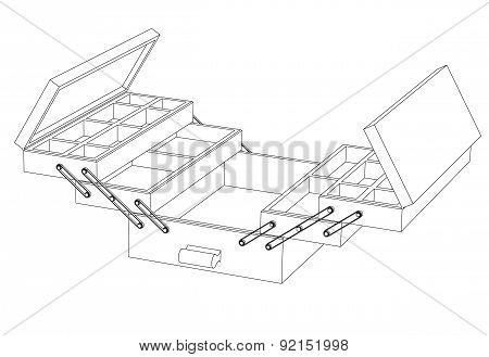 Open Sliding Box With Compartments Close-up Circuit