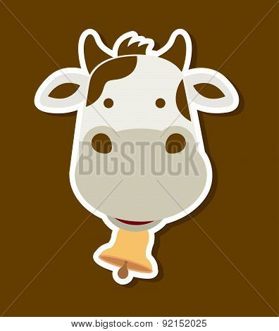 cow design over brown background vector illustration