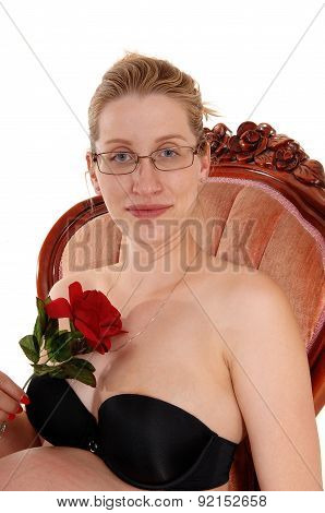 Pregnant Woman In Armchair.