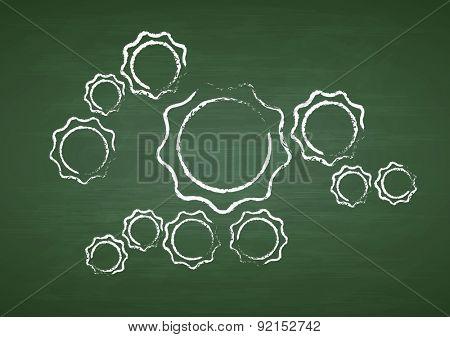 Tech gears on green chalkboard. Vector background