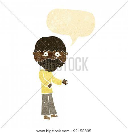 cartoon happy bearded man with speech bubble