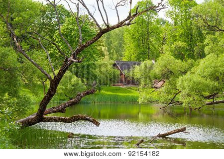 Rural Landscape With Ethnic House On Lake.
